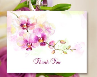 """Printable Thank You Card Template """"Orchid"""" Editable Word Instant Download DIY You Print"""