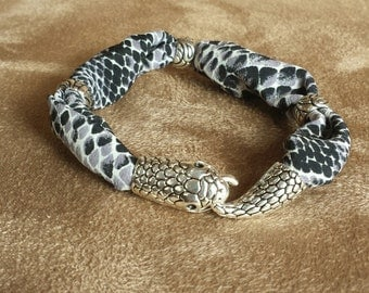 Snake Skin Fabric Bracelet with Unique Snake Head and Tail Clasp
