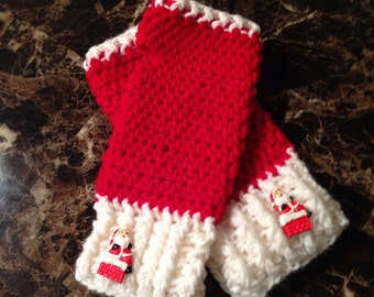 Crochet Wrist warmers with Santa button