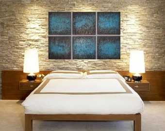 Modern ABSTRACT ART Wood Wall Sculpture Contemporary Modern Fine Art  Turquoise Paintings Abstract Painting Wood Block Art - Modern Wall Art