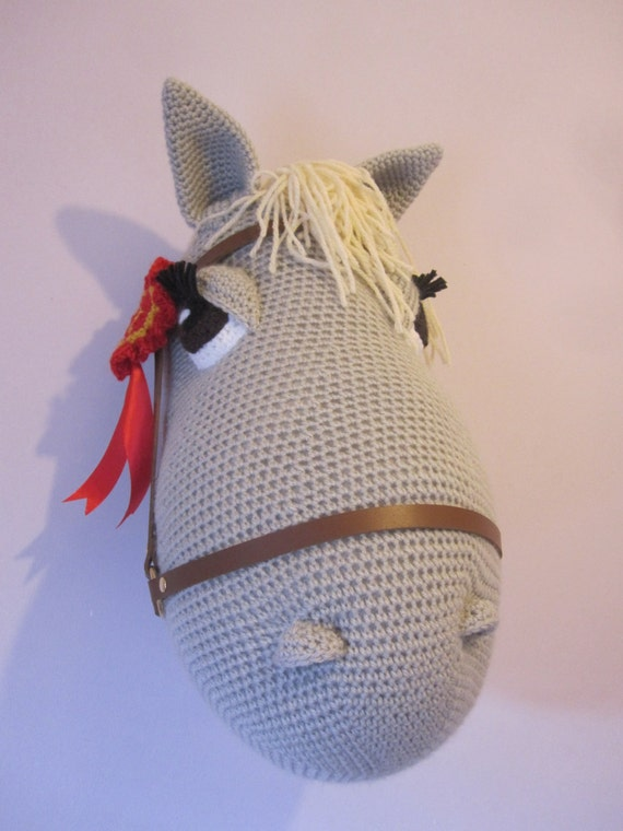 Amigurumi Horse Head : HUGE Crochet Wool Mounted Stuffed Trophy Head