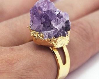 Natural Raw Amethyst Ring // Gold Amethyst Rings // Amethyst  gemstone // Amethyst jewelry // Adjustable rings