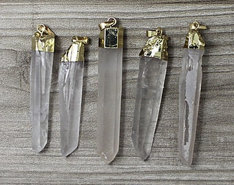 HIGH QUALITY Polished Crystal Quartz Point Pendant with Electroplated 24k Gold Cap and Bail