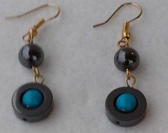 handmade beaded turquoise and hematite pair of earrings