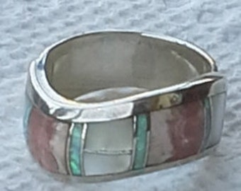Vintage inlay multi stones ring  on sterling silver.