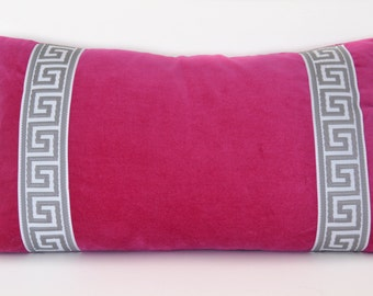 Pink Pillow - Fuchsia Pink Velvet Lumbar Pillow with Greek Key Trim