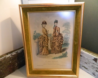 Vintage La Mode Illustree Two Women Paris Print