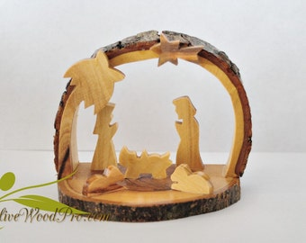 Olive wood hand carved Christmas tree nativity sence Holy family set - from  Holy land