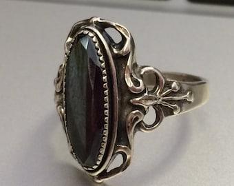 Vintage Sterling Silver Black Quartz Ring Sz. 10