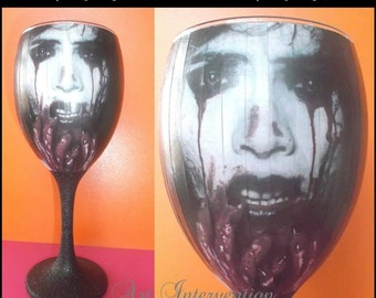 Decoupaged Horror Wine glass, black glitter stem, goth, Halloween