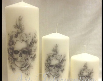 Tattoo Style Skull White Candles Set Of  3. Hand decorated.