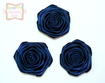 Navy Satin Rolled Rosette 3 Pieces #D140