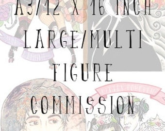 "SALE Large/multi figure commissions, 12"" x 16"""