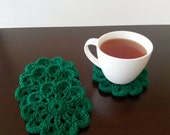 Crochet Paddy Green Coaster 4 Piece Set - Green - St Patrick's Day