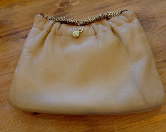 Vintage Brown Leather Clutch, Medium, Ande