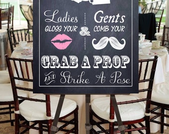 "Instant Download- Printable PDF JPEG DIY Chalkboard Wedding Sign: ""Fancy Photobooth"" Large 17"" x 24"" Signage With Pink Lips"