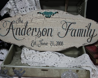 12x30 Custom Made, Completely Hand Painted, Wood, Family Name SIGN, Shabby Chic, Cottage Chic, Vintage