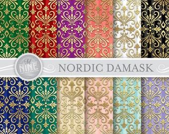 Damask Digital Paper: NORDIC DAMASK Printable Pattern Print, Damask Download, 12 x 12 Damask Pattern Damask Scrapbook Print