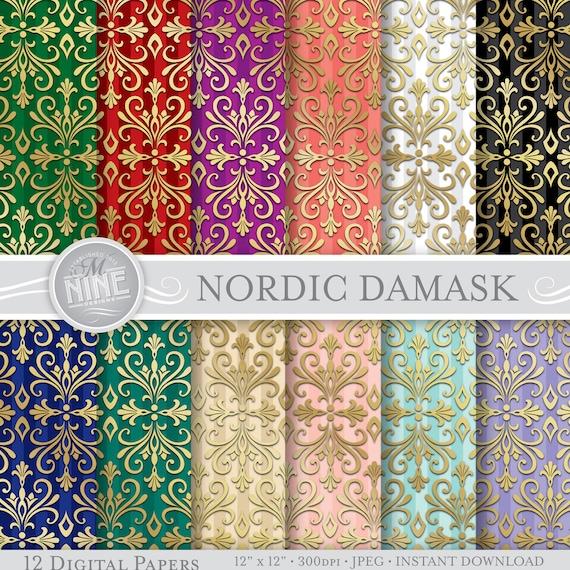 damask digital paper  nordic damask printable pattern print