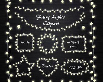 Fairy Lights Clipart, String Lights Clipart, Fairy Lights frame, Lights clipart, wedding invitation, Lamp, Personal and Commercial Use