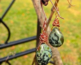 Copper Wire Wrapped Green Swirl Picasso Finish Glass Teardrop Dangle Earrings