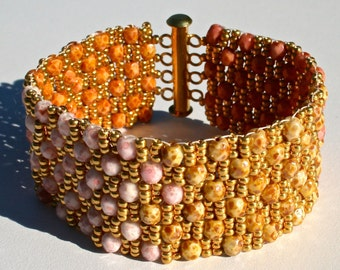 Shades of Pink Gold and Brown Cobblestone Beaded Bracelet