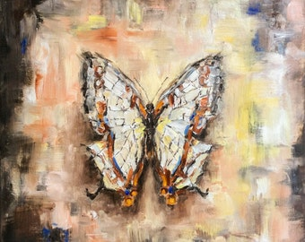 Common Map Butterfly original oil painting on canvas , 12x12