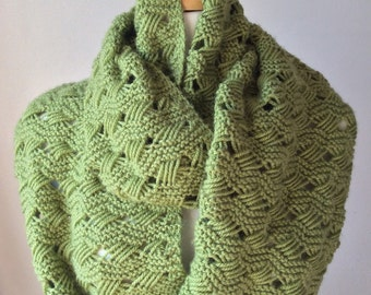 Handmade Knitting Green Infinity Scarf, Wool And Acrylic Blend