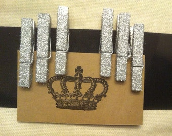 Glitter Clothes Pins-Medium Silver Glitter Clothes Pins-Gold or Silver-6 glittered clothes pins