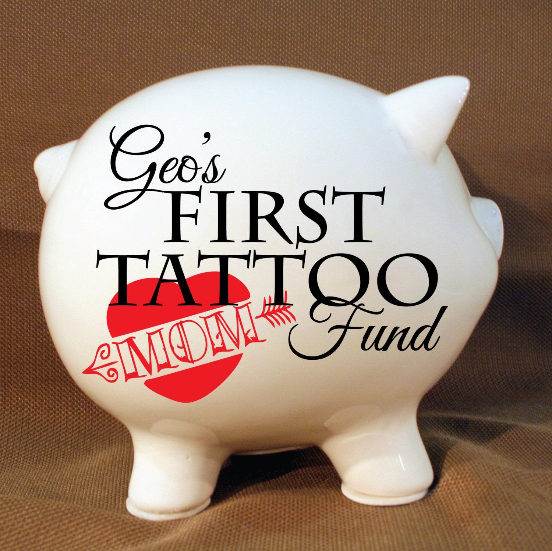 5.5 First Tattoo Fund Custom Piggy Bank Kids Room