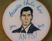 Sterling Archer Embroidered Portrait Hoop