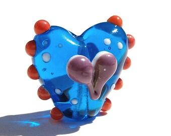 glass lampwork bead - Handmade Lampwork Glass Focal Bead - 1 Focal Heart - polka dots - Herz