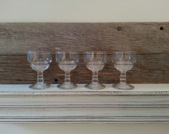 Vintage GLASSWARE SHERRY or SHOT Glasses (4) clear glass  wedding reception party glassware