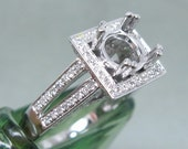 Princess natural diamond setting semi mount round custom unique