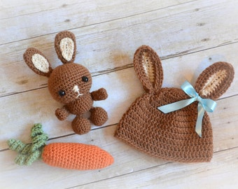 Newborn Easter Hat Set with Carrot & Stuffed Bunny/Photography Prop/Gift Set