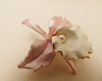 Gold Tone Pink Orchid Vintage Flower Brooch