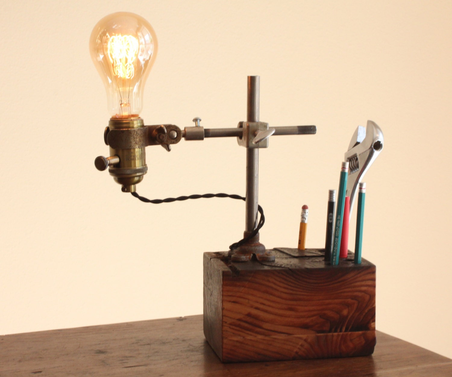 Reclaimed Wood Desk Organizer Lamp Industrial Desk Accessory