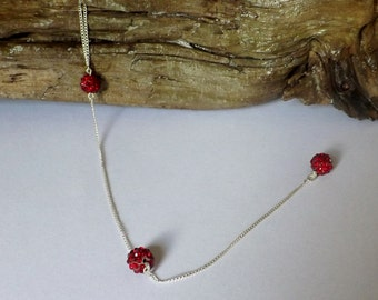 Women's Silver Y necklace with 3 Red disco ball beads