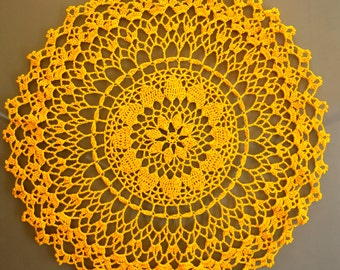Large bright yellow doily