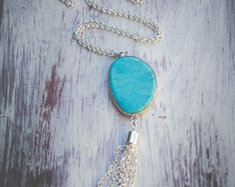 Turquoise Long Silver Plated Necklace With Tassel