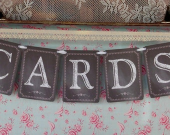 Wedding Cards Bunting, Wedding Cards Banner,  Wedding Sign, Chalkboard Bunting, Photo Prop Signs, Reception Sign, Wedding Reception Bunting