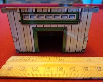 Vintage Marx Tin Shed Garage Barn Stable