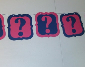 Gender Reveal Banner Baby Shower Question Mark ??? (552B)