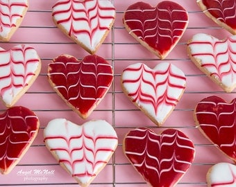 Valentine's Day Decor, Canvas wall art, Gift, still life photo, heart shaped cookies, Love, Chef's gift, red and white, pink, cafe decor
