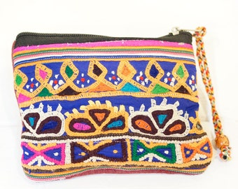 Indian mirror work small pouch (022)  Indian mirror work Pouch Ethnic pouch Hippie pouch Indian mirror work