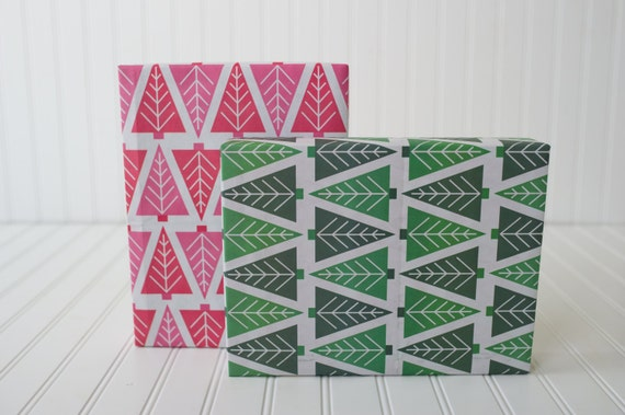 Ecofriendly Reversible Christmas Trees Wrapping Paper