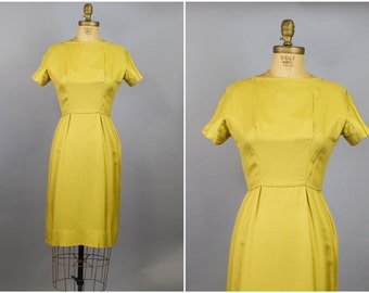 Gold Silk Dress / 50s Dress / 1950s Gold Silk Fitted Dress