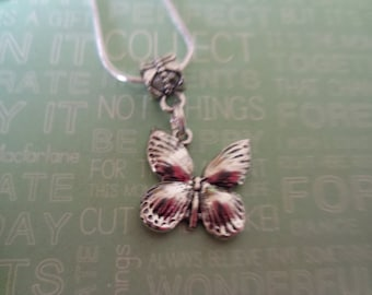 silver butterfly, silver plated necklace and charm