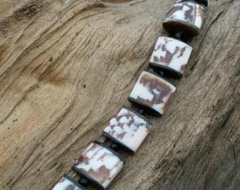 Necklace - Bone Shell Square Puff
