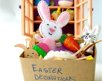 Easter decorations in a box miniatures for dollhouse attic for next year 1/12 scale